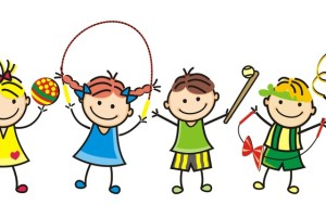 Happy kids, group of girls and boys, leisure game, vector funny illustration